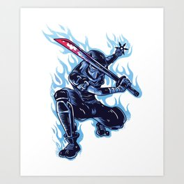 Ninja Flames Art Print