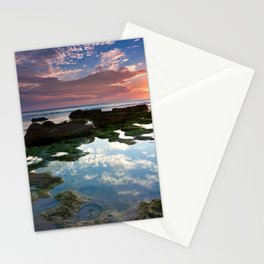 reeves decline sun light outflow pools rocks stones sea coast evening silence sky Stationery Cards