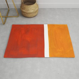 Burnt Orange Yellow Ochre Mid Century Modern Abstract Minimalist Rothko Color Field Squares Rug