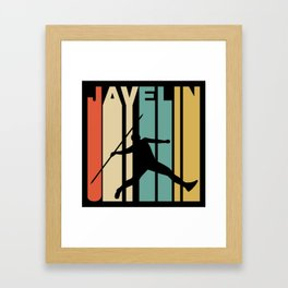 Retro Style Javelin Throw Track And Field Framed Art Print