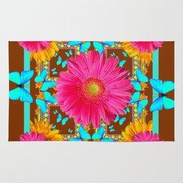 Coffee Brown Pink Flower Blue Butterfly Floral Art Rug