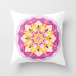 Mosaic Sunset Mandala Throw Pillow