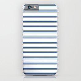 Mattress Ticking Wide Horizontal Stripe in Dark Blue and White iPhone Case