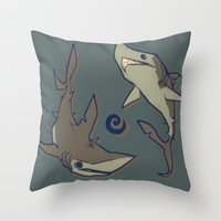 sharks Throw Pillows featuring Sharks by Anya McNaughton