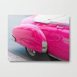Pink Classic Car in Havana Cuba Metal Print