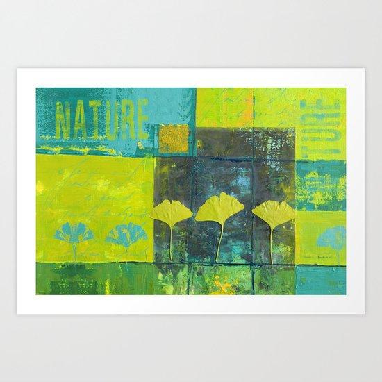 Green nature greenery gingko leaf collge Art Print