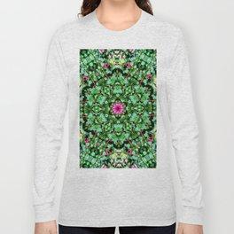mandala with green leaves Long Sleeve T-shirt