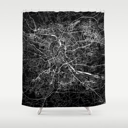 Krakow Black Map Shower Curtain