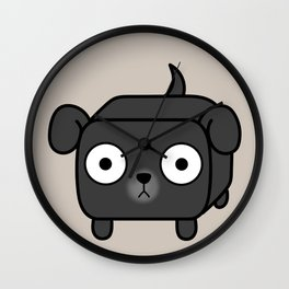 Pitbull Loaf - Black Pit Bull with Floppy Ears Wall Clock