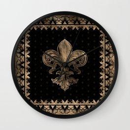 Fleur-de-lis - Black and Gold #1 Wall Clock
