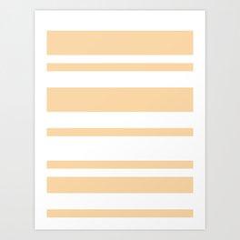 Mixed Horizontal Stripes - White and Sunset Orange Art Print
