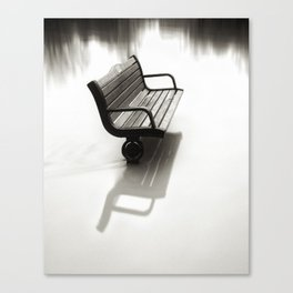 Bench almost flooded Canvas Print