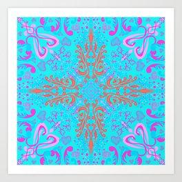 Feel the Love - Heart Mandala on Aqua Art Print