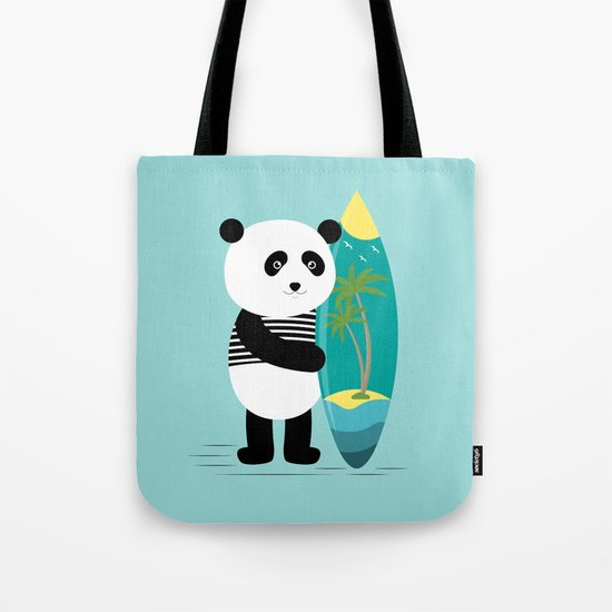 Surf along with the panda. Tote Bag