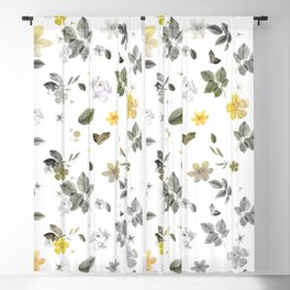 Yellow Flowers & White Roses 8 Blackout Curtain