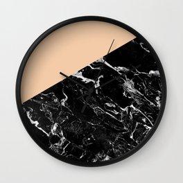Modern elegant peach black marble color block Wall Clock