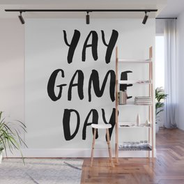 Yay Game Day Football Sports Black Wall Mural