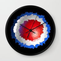 patriotic Wall Clocks featuring Patriotic  by C R Clifton Art