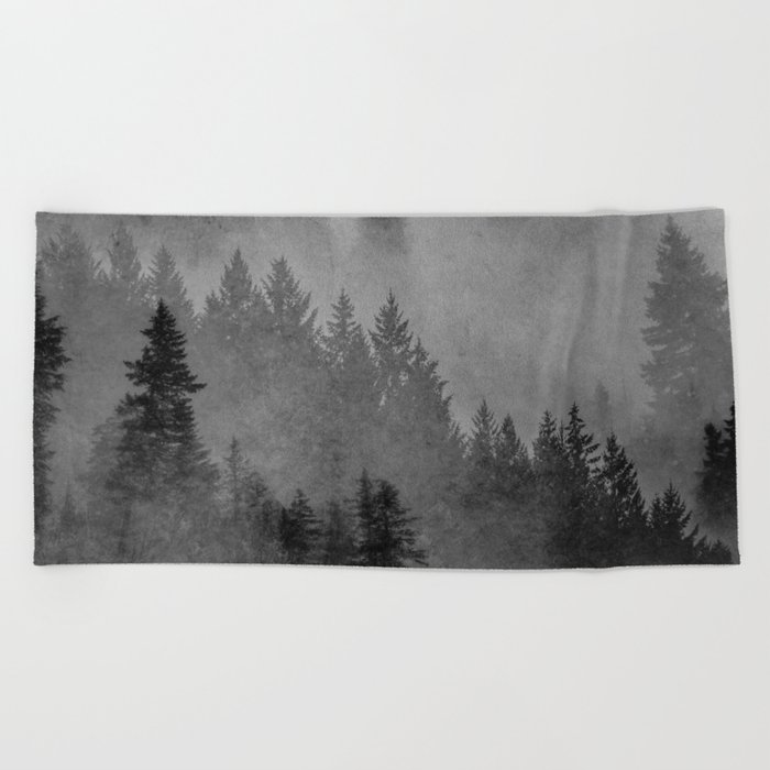 Charcoal Forest Beach Towel
