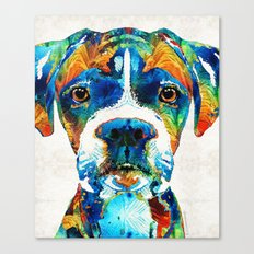 Colorful Boxer Dog Art By Sharon Cummings  Canvas Print
