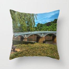A Riverside Seat At Chepstow Throw Pillow