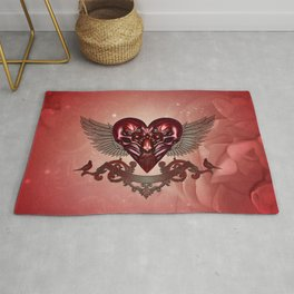 Awesome heart with skulls Rug