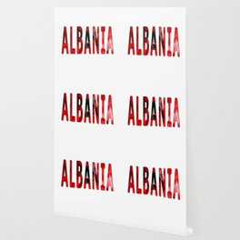 Albania Word With Flag Texture Wallpaper