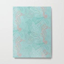 Seahorse & Seashell Melody Metal Print