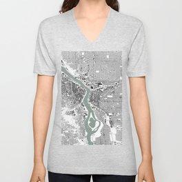 Portland, OR City Map Black/White Unisex V-Neck