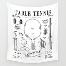 Table Tennis Ping Pong Old Vintage Patent Drawing Print Wall Tapestry