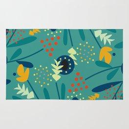 Floral dance in blue Rug