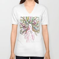 venus V-neck T-shirts featuring venus by Beth Jorgensen