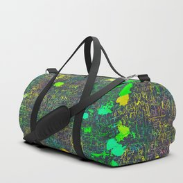 psychedelic abstract art texture background in green yellow black Duffle Bag