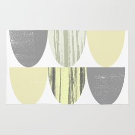 Yellow and Grey Geometric Abstract Scallop Pattern Rug