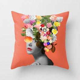 Orange Lady Throw Pillow
