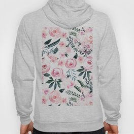 Floral Rose Watercolor Flower Pattern Hoody