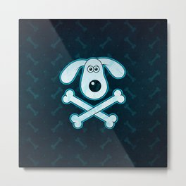 Dog Cartoon Blue Rain Bones Background Metal Print