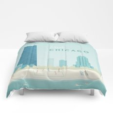 Vintage Chicago Travel Poster Comforters