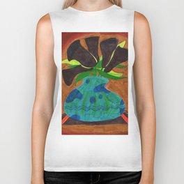 Black Calla Lilies in Blue Vase Biker Tank