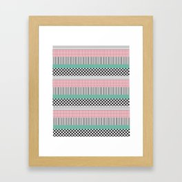 Pink and Teal Striped Pattern Framed Art Print