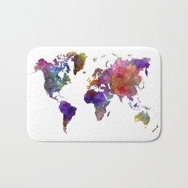 World map in watercolor  Bath Mat