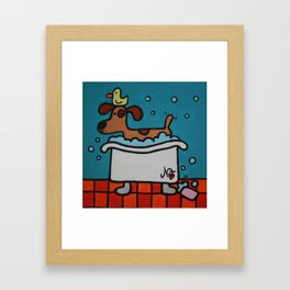 A Dog & His Duckie Framed Art Print