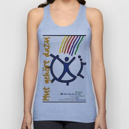 A figure at the centre of a broken wheel entered by multicoloured lines; representing help for AIDS Unisex Tank Top
