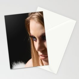 Beauty Woman Face, Portrait Of Sexy Girl Perfect Make-up, Closeup Female Model With Soft Smooth Skin Stationery Cards