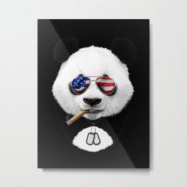 American Panda Black Metal Print