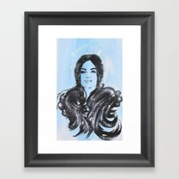 Dark Angel Stencil Face With Black Wings Acrylics & Spray Paint Framed Art Print