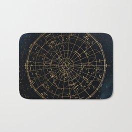 Golden Star Map Bath Mat