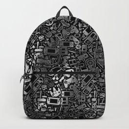 Video Gamer Pattern Black, White and Grit Backpack