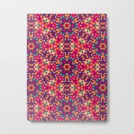 Geometric Folk Floral Metal Print