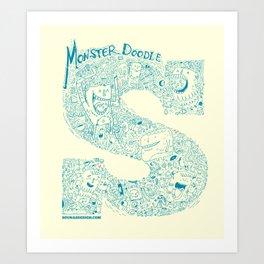 Monster Doodle - light version Art Print